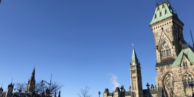A view is seen of Canada's West Block building, old Parliament, and the East Block building.
