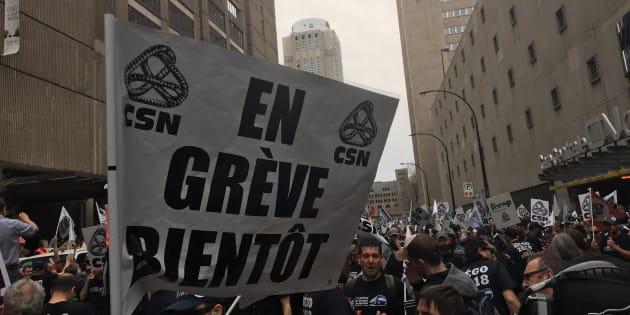 Des syndicats des employés de la STM ont manifesté à Montréal, mercredi.