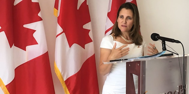 Foreign Affairs Minister Chrystia Freeland addresses reporters at the NAFTA talks in Mexico City, Mexico on Sept. 5, 2017.