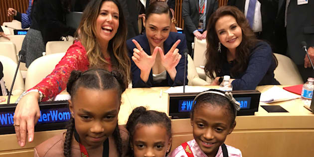 Wonder Woman Director Patty Jenkins, Gal Gadot, and Lynda Carter pose with young Wonder Woman fans on Oct. 21 UN ambassador announcement