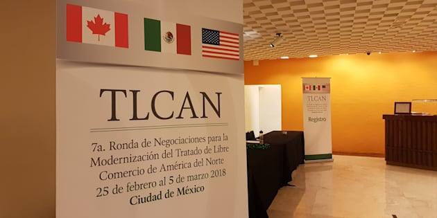 Imagen de la recepción del hotel en la Ciudad de México donde se lleva a cabo la séptima ronda de negociaciones del TLCAN.
