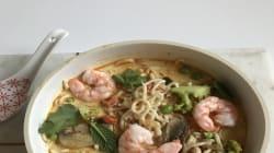 """""""Ma recette, vite fait, bien fait, de la soupe de nouilles aux crevettes et curry"""