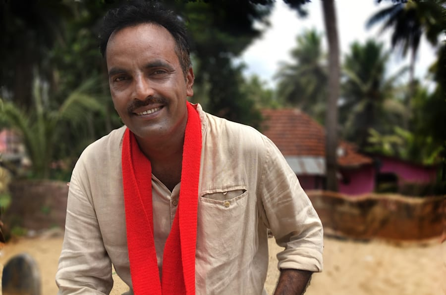Muneer Katipalla, Communist Party of India (Marxist) candidate, campaigning in Mannur, Karnataka in May, 2018.
