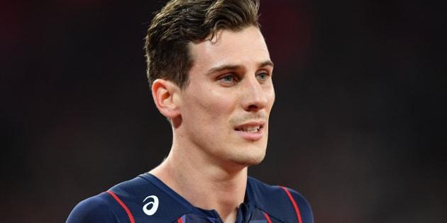 Pierre-Ambroise Bosse après sa victoire aux championnats du monde d'athlétisme le 8 août à Londres.