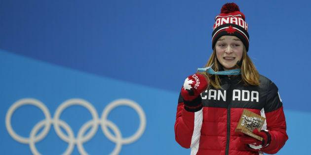 Kim Boutin, récipiendaire de la médaille de bronze au 500 m au patinage de vitesse féminin.