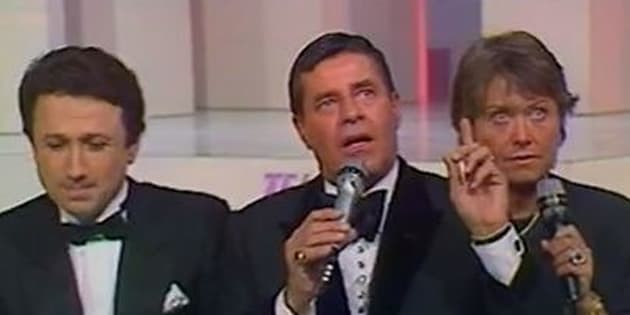 Jerry Lewis, parrain du premier Téléthon français en 1987.