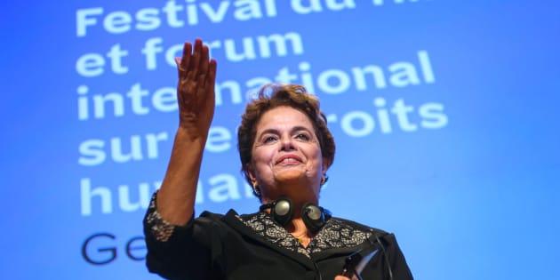 Ex-presidente Dilma Rousseff no Festival Internacional de Filmes de Direitos Humanos, em Genebra.