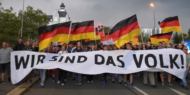 Des manifestants d'extrême droite à Chemnitz le 7 septembre
