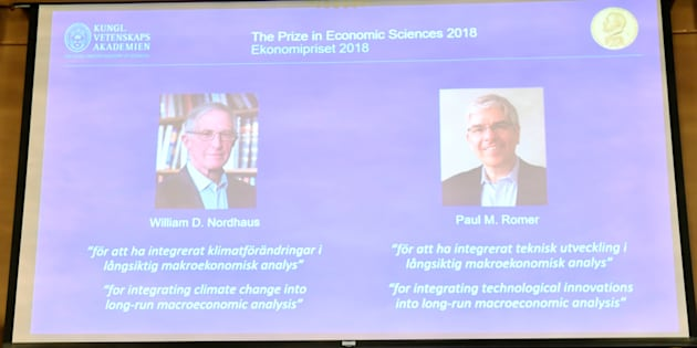 Per Stromberg, Goran K. Hansson and Per Krusell annonce the laureates of the Nobel Prize in Economics during a press conference at the The Royal Swedish Academy of Sciences in Stockholm, Sweden, October 8, 2018. The prize is divided between William D. Nordhaus and Paul M. Romer.
