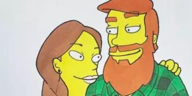 Il dessine son couple dans différents styles de dessins animés.