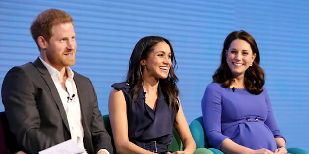 Prince Harry, Meghan Markle and the Duchess of Cambridge speak at the Royal Foundation Forum on Feb. 28, in London.