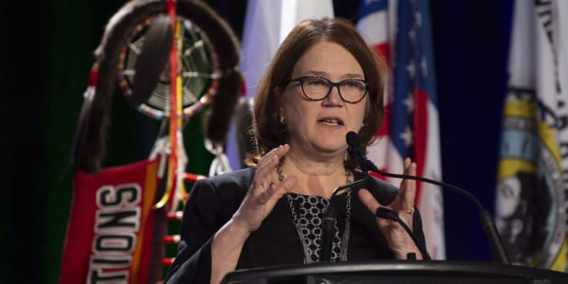 Indigenous Services Minister Jane Philpott speaks at the Assembly of First Nations Special Chiefs meeting in Ottawa on Dec. 5, 2018.