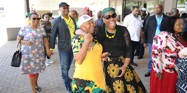 Members of the ANC's national executive committee arrive for a meeting in December 2017. They will have to decide President Jacob Zuma's fate.