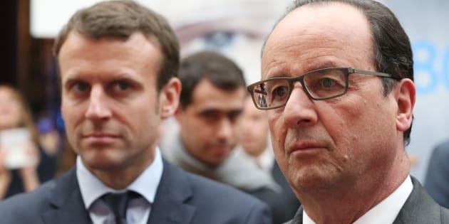 Le Président François Hollande et Emmanuel Macron, alors ministre de l'Economie, à l'Elysée le 23 mai 2016.