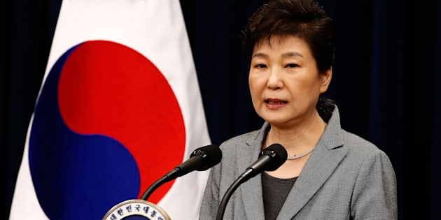 SEOUL, SOUTH KOREA - NOVEMBER 29:  South Korean President Park Geun-Hye makes a speech during an address to the nation, at the presidential Blue House in Seoul on November 29, 2016. South Korea's scandal-hit President Park Geun-Hye said Tuesday she was willing to stand down early and would let parliament decide on her fate.  (Photo by Jeon Heon-Kyun-Pool/Getty Images)