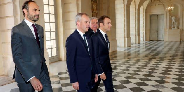 Le Premier ministre Edouard Philippe, le président de l'Assemblée nationale François de Rugy, le Président de la République Emmanuel Macron et le président du Sénat Gérard Larcher à Versailles, le 3 juillet 2017.