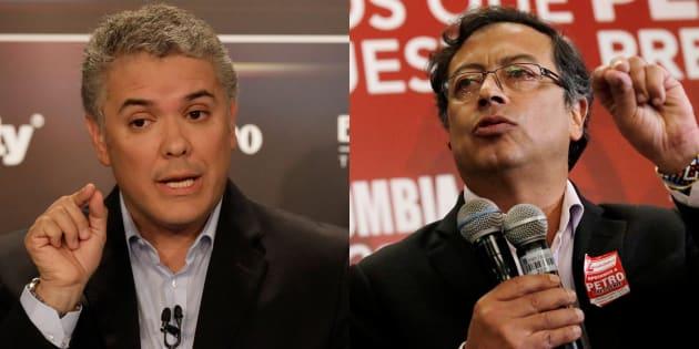 Iván Duque, uribista, y Gustavo Petro, de la izquierda, son los dos candidatos mejor situados ante las elecciones de este domingo en Colombia.