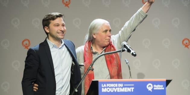 Les porte-paroles de Québec solidaire, Gabriel Nadeau-Dubois et Manon Massé, lors du conseil national du parti le 9 décembre 2018.