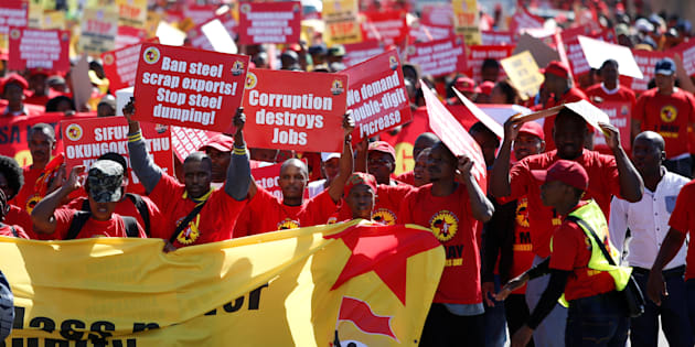 Union members take part in a May Day Rally organised by Saftu in Durban. May 1, 2017.