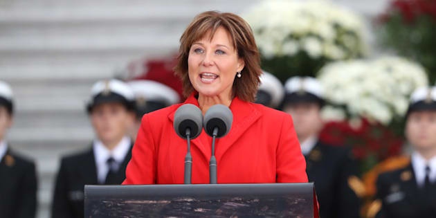 Christy Clark speaks at the Official Welcome Ceremony for the Royal Tour at the British Columbia Legislature on September 24, 2016 in Victoria.