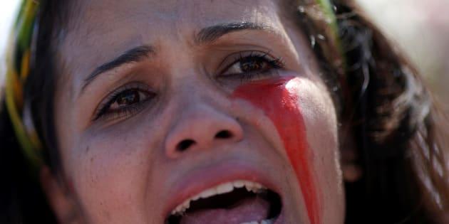Manifestação contra violência contra a mulher.