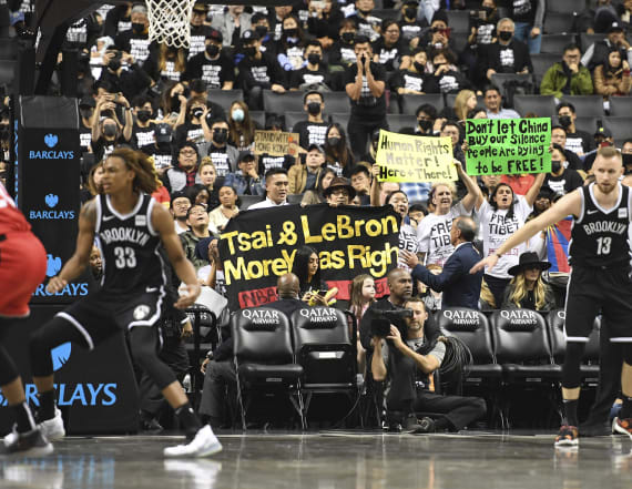 Pro-Hong Kong protesters fill up stands at NBA game