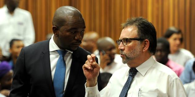 The DA's James Selfe and Mmusi Maimane at the Pretoria High Court in 2016.