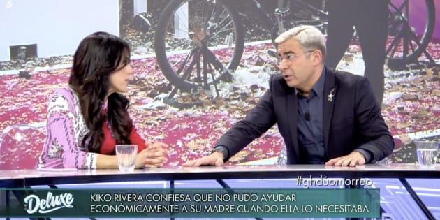Maite Galdeano y Jorge Javier Vázquez en la mesa de debate de 'GH Dúo'.