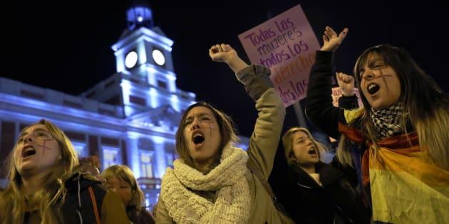 Protesta de mujeres contra Vox, en Madrid.