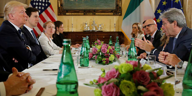 U.S. President Donald Trump (L) meets with Italy's Prime Minister Paolo Gentiloni (R) at Villa Taverna in Rome, Italy May 24, 2017. REUTERS/Jonathan Ernst