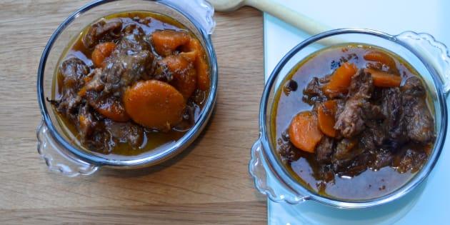 Ma recette, vite fait, bien fait, du ragoût de queue de bœuf, carottes et oignons braisés