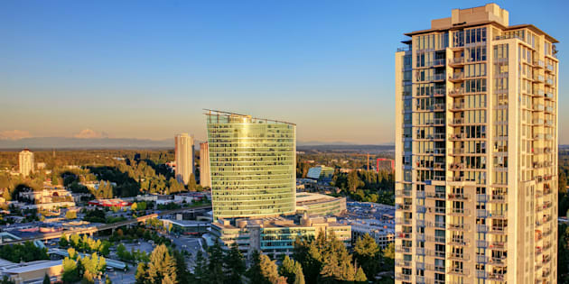 View from rooftop of highrise in Surrey, B.C.