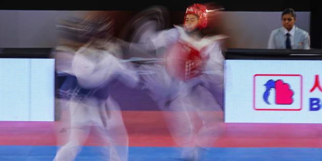 Imagen tomada en el gimnasio de la CIudad Deportiva Magdalena Mixuca,durante World Taekwondo Grand Prix México.