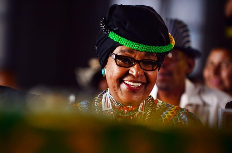 Winnie Madikizela-Mandela durante seu aniversário de 78 anos em Soweto, na África do Sul. (Photo by Leon Sadiki/City Press/Gallo Images/Getty Images)