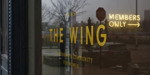 "The lobby entrance for The Wing, a private club founded as work space and networking hub exclusively for women, display a lighted ""Members Only"" sign, March 29, 2018, in the Dumbo section of Brooklyn borough in New York."
