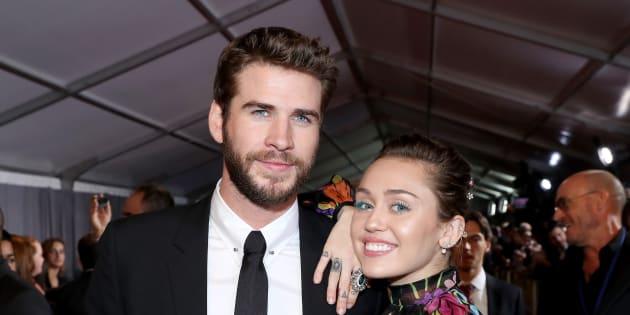 """L'acteur Liam Hemsworth et la chanteuse Miley Cyrus à Hollywood le 10 octobre dernier, lors de l'avant-première de """"Thor: Ragnarok"""""""