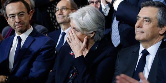 Bruno Retailleau, Penelope Fillon et son mari François Fillon lors du meeting de La Villette à Paris, le 29 janvier 2017.