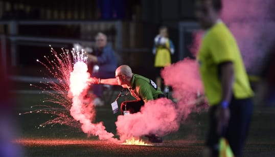 Toronto Soccer Fans Start Fire In Ottawa Stadium With Flares, Smoke