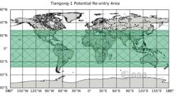 La probabilità che la stazione spaziale cinese Tiangong-1 cada sull'Italia è di 1 su