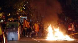Les images impressionnantes des échauffourées à Barcelone à la fin de la manifestation