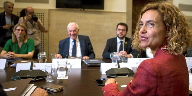 La ministra de Política Territorial, Meritxell Batet; la consellera de la Presidencia, Elsa Artadi; el conseller de Acción Exterior, Ernest Maragall; y el conseller de Economía, Pere Aragonés, en la reunión de hoy.
