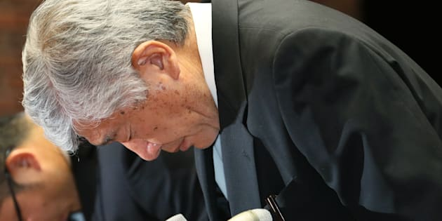危険タックルの指示を否定した内田正人・日大アメフト部前監督=5月23日