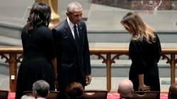 Los expresidentes Barack Obama y Bill Clinton asisten al funeral de Barbara