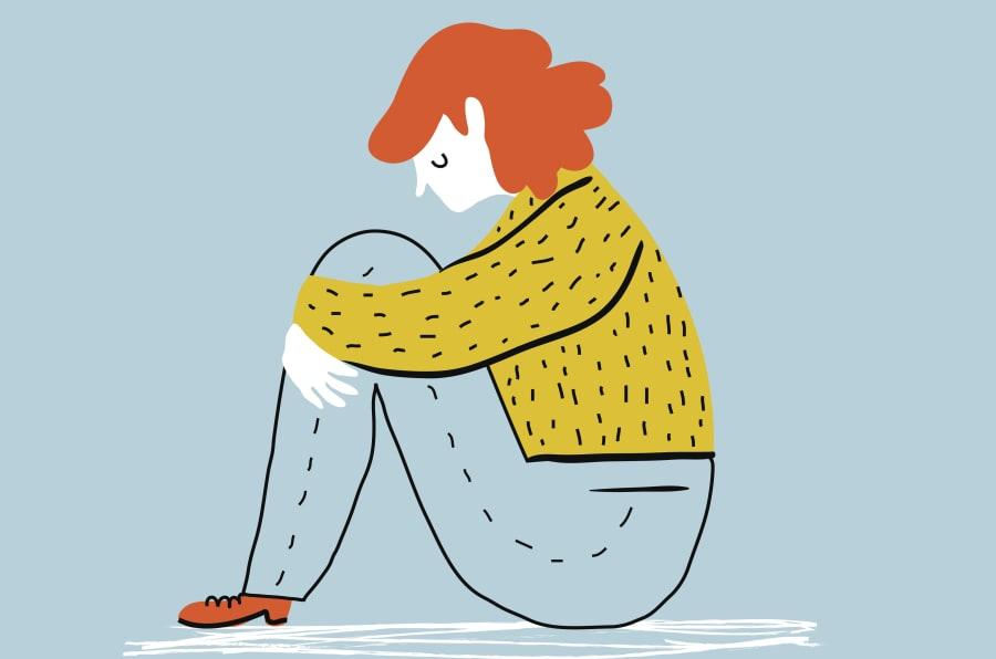 ilustración de una mujer con depresión.