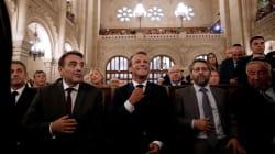 Macron assiste aux vœux à la communauté juive pour le Nouvel an, une