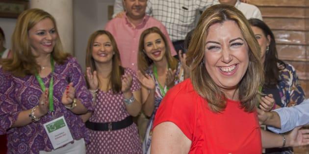 Susana Díaz, esta tarde en su comparecencia ante simpatizantes y militantes en Sevilla.