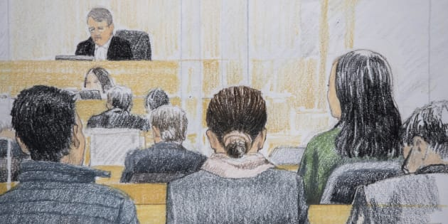 In this courtroom sketch, Meng Wanzhou, back right in green, the chief financial officer of Huawei Technologies, listens during a bail hearing at Supreme Court in Vancouver, British Columbia, Tuesday, Dec. 11, 2018. China has detained a former Canadian diplomat in Beijing in apparent retaliation for the jailing of the top Chinese executive at the request of the United States, escalating a legal and diplomatic wrangle between the three countries. (Jane Wolsak/The Canadian Press via AP)