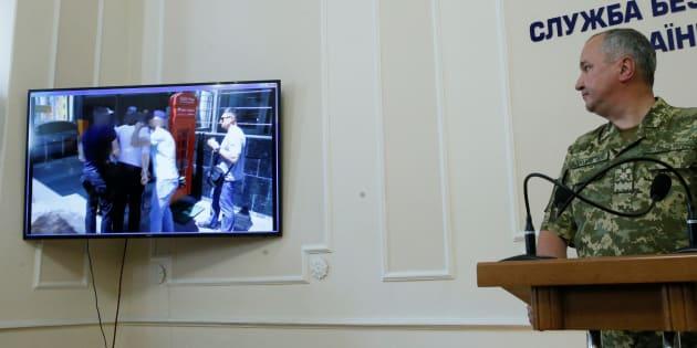 Le patron des services secrets ukrainiens lors de la conférence de presse qui a révélé que la mort de Arkadi Babtchenko était une mise en scène.