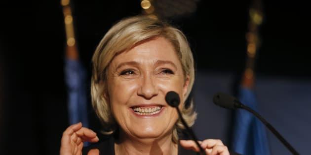 Marine Le Pen en meeting à  Clairvaux-les-Lacs, le 17 février.