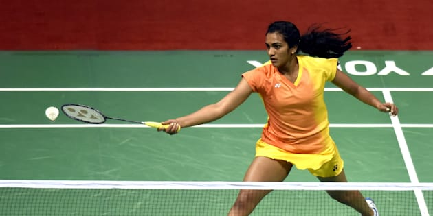 PV Sindhu action against Bae Yeon JU of Korea during the India Open Badminton quarter final.